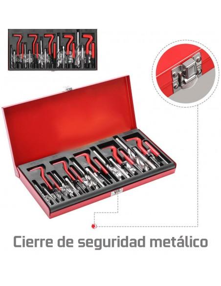 JUEGO PARA REPARAR ROSCAS CON HELICOIL M5, M6, M8, M10 Y M12 131 PIEZAS CON TUERCAS HELICOIDALES