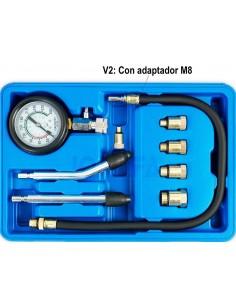 Compresimetro para vehiculos de gasolina (medidor de compresión) + adaptador m8, 9 piezas